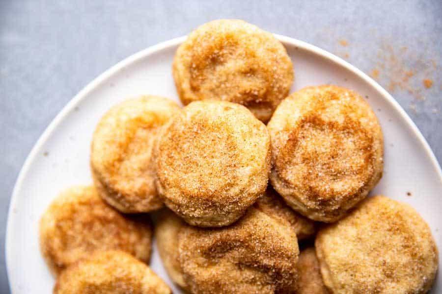 plate of snickerdoodle cookies