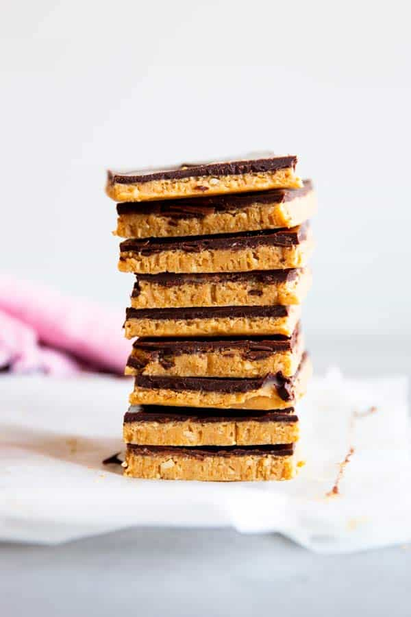 stack of no bake peanut butter bars