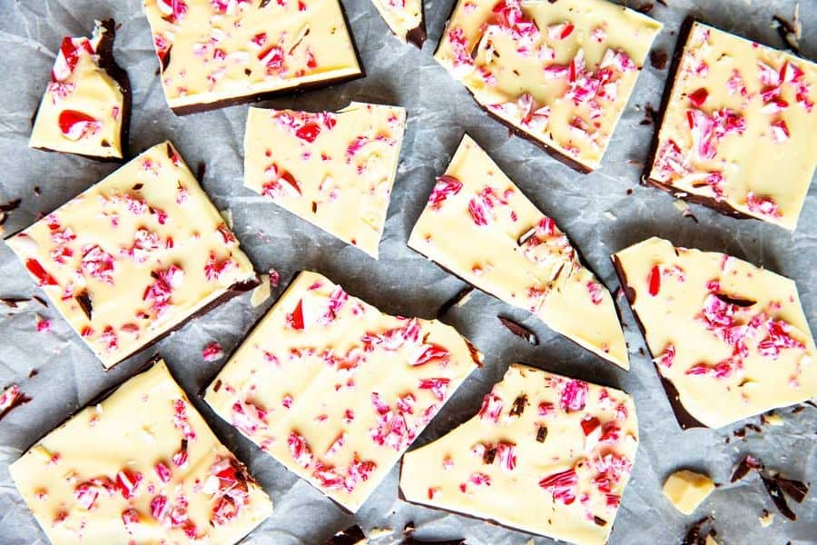 peppermint bark on parchment