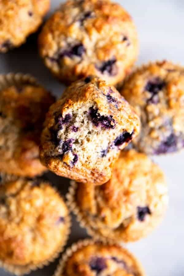 blueberry oatmeal muffins in a pile