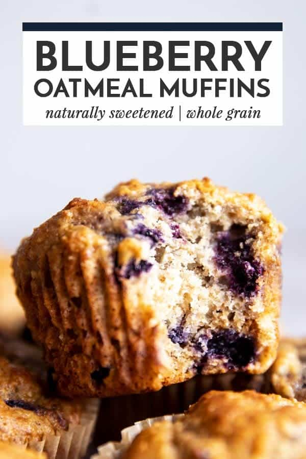 blueberry oatmeal muffin image with text overlay