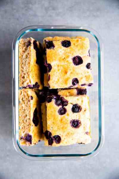 glass box with sheet pan blueberry pancakes