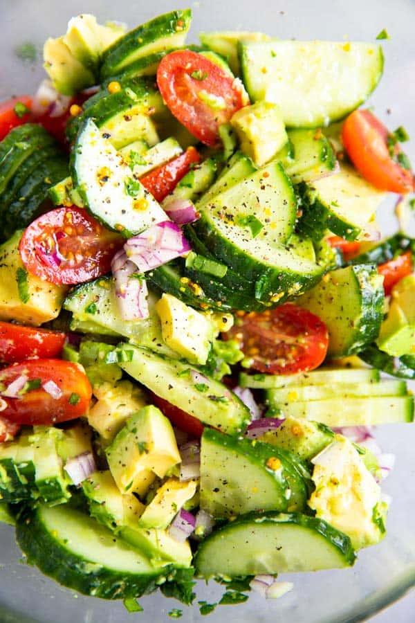 close up photo of Cucumber Tomato Avocado Salad