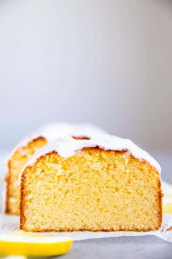 slices of lemon pound cake with glaze