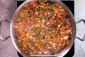 skillet with browned ground beef and vegetables