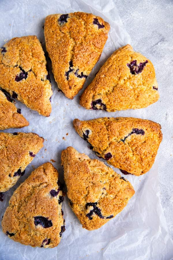 blueberry scones arranged in a circle