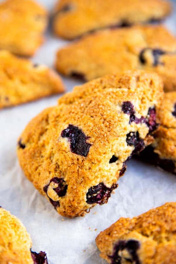 pile of blueberry scones