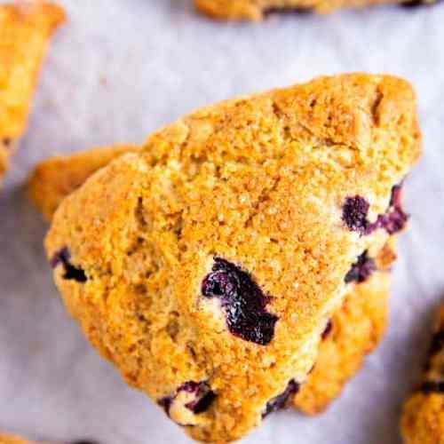 close up photo of a blueberry scone