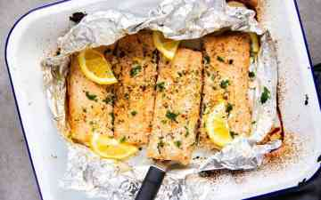 enamel pan with foil and salmon from the top down