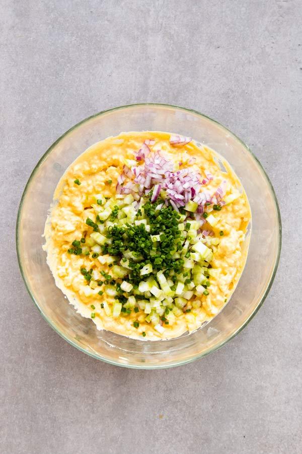 bowl with egg salad