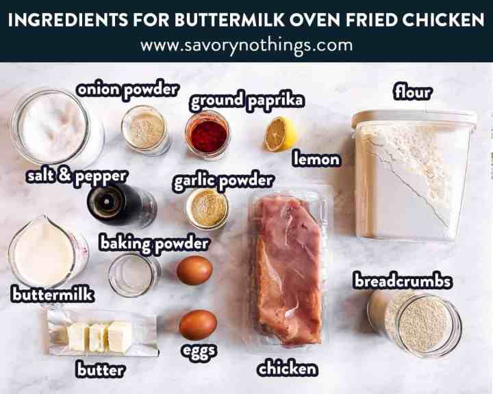 ingredients for buttermilk oven fried chicken with text labels