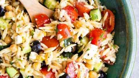 bowl of greek orzo salad