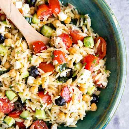 bowl of greek orzo salad