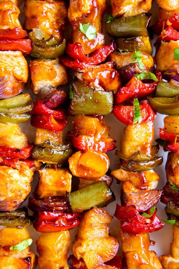 close up photo of Hawaiian bbq chicken kabobs