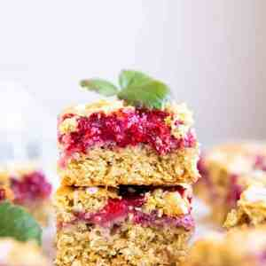 stack of strawberry oatmeal bars