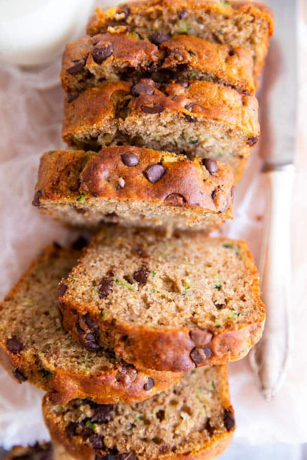 sliced chocolate chip zucchini bread on a piece of baking parchment