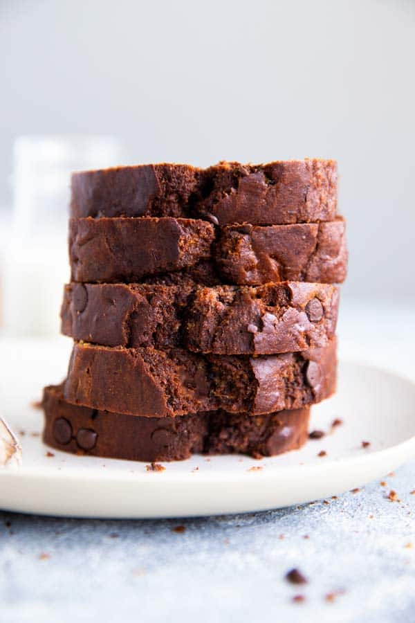 a stack of healthy chocolate zucchini bread on a plate