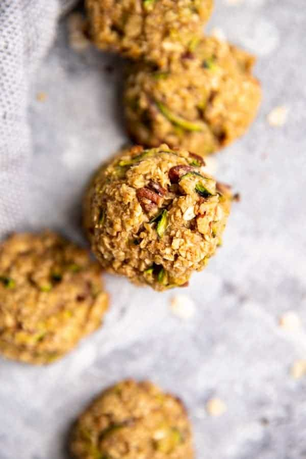 zucchini oatmeal breakfast cookies on the counter
