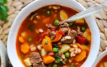 bowl with beef barley soup