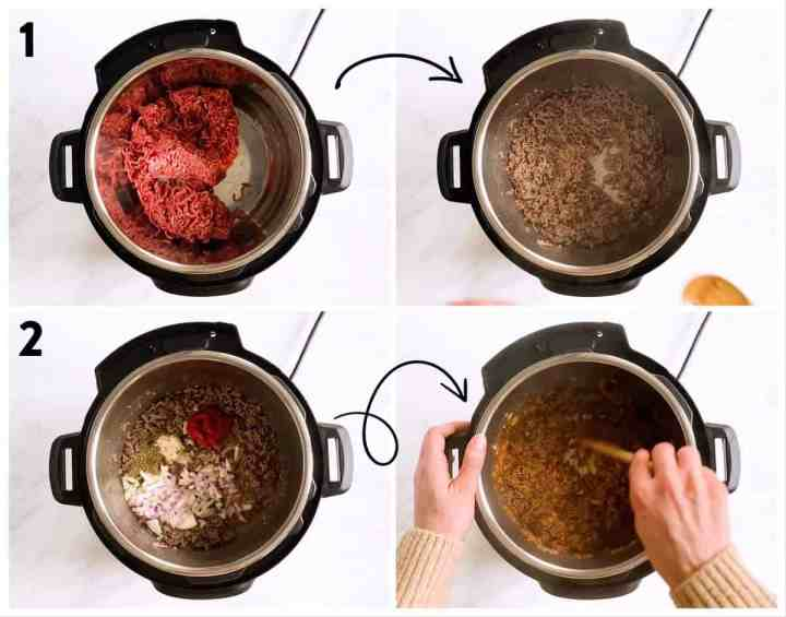 collage of steps to show browning beef in instant pot with onions and seasoning