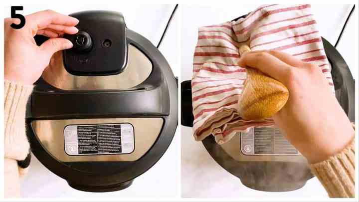 collage of steps to show setting and releasing the valve of an instant pot