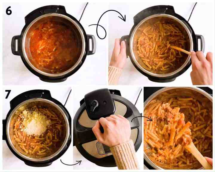 collage of steps to show how to finish instant pot baked ziti after pressure cooking