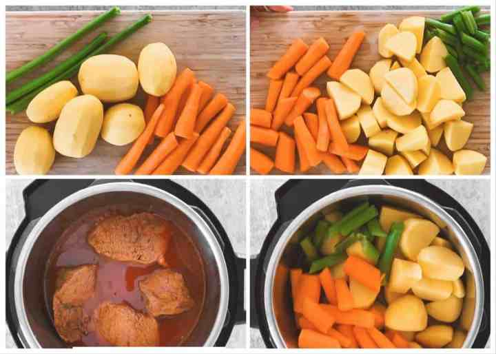 photo collage to show how to prepare the vegetables for an instant pot pot roast