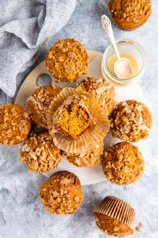 pumpkin crumb muffins on the table