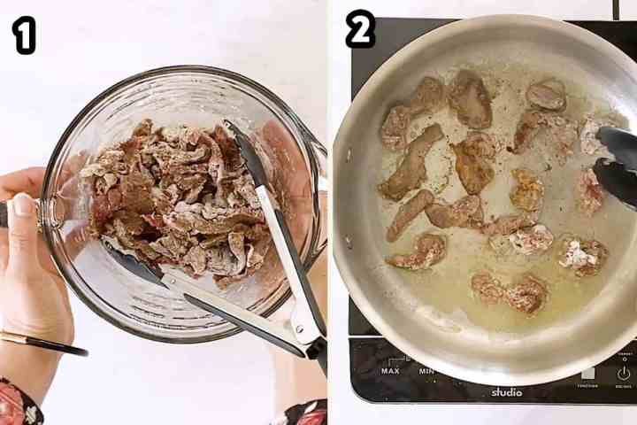 collage of photos to show flouring and browning beef for stroganoff