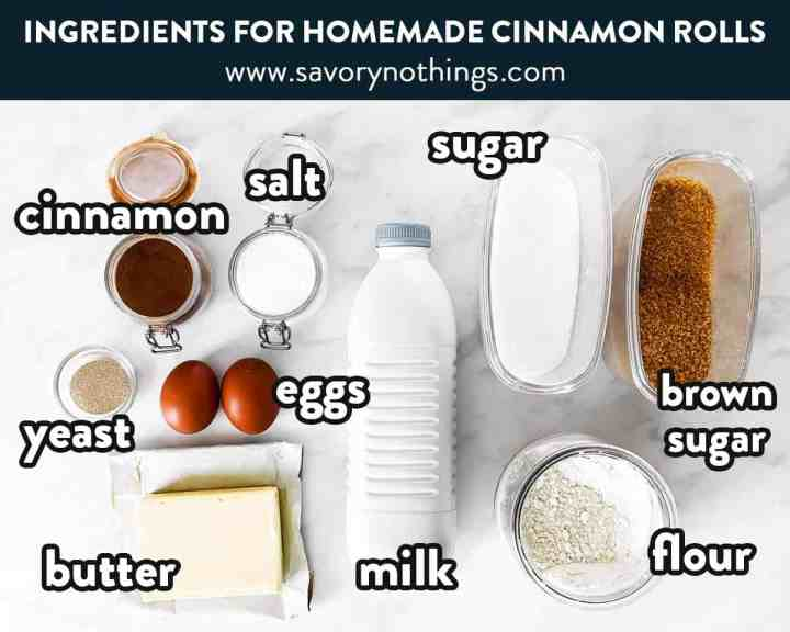 ingredients for cinnamon rolls with text labels