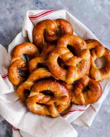 Basket with homemade German soft pretzels