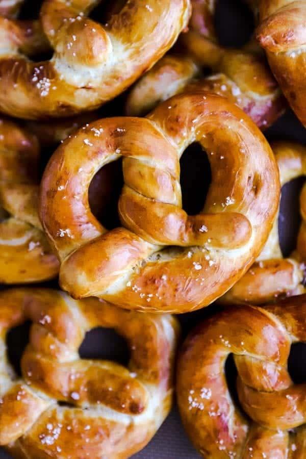 Close up photo of a soft pretzel