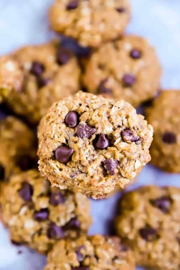 Pumpkin Chocolate Chip Oatmeal Cookies on a table from above