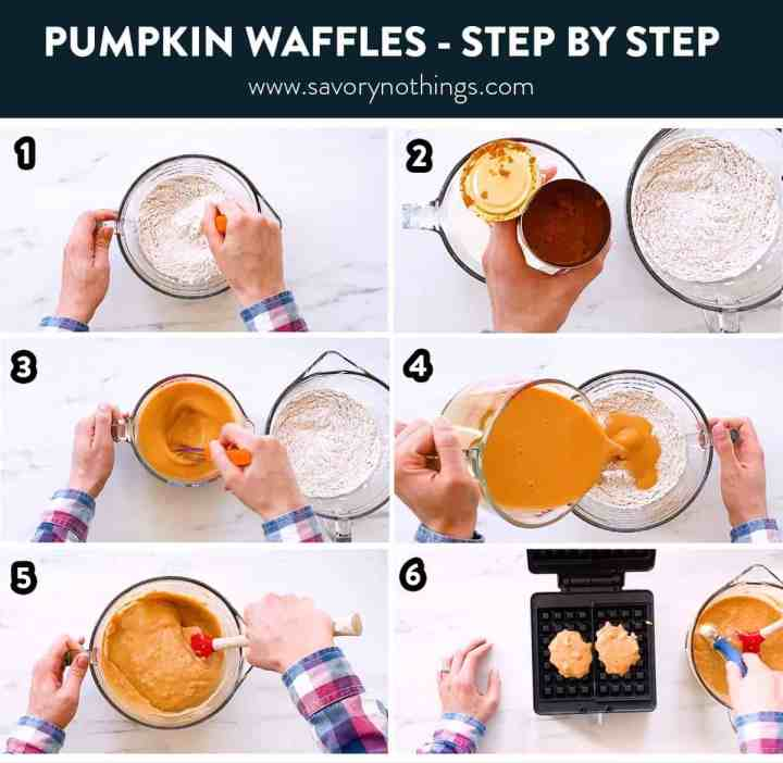 collage of step by step photos to show making of pumpkin spice waffles