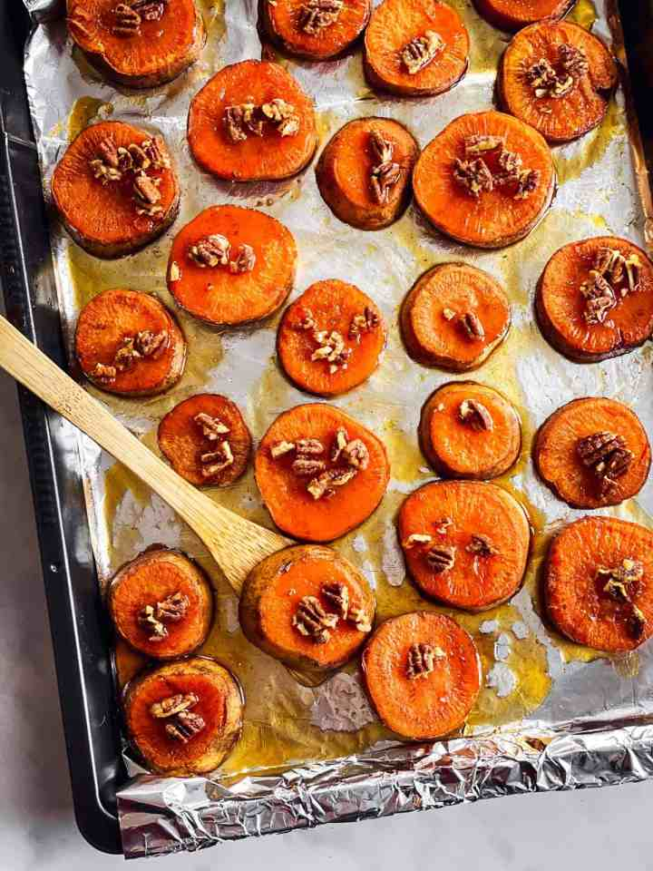 pan with maple pecan roasted sweet potato slices
