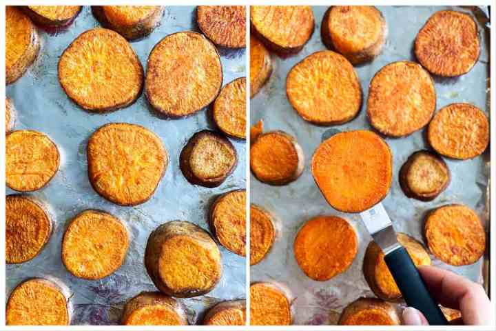 collage to show flipping of roasted sweet potatoes