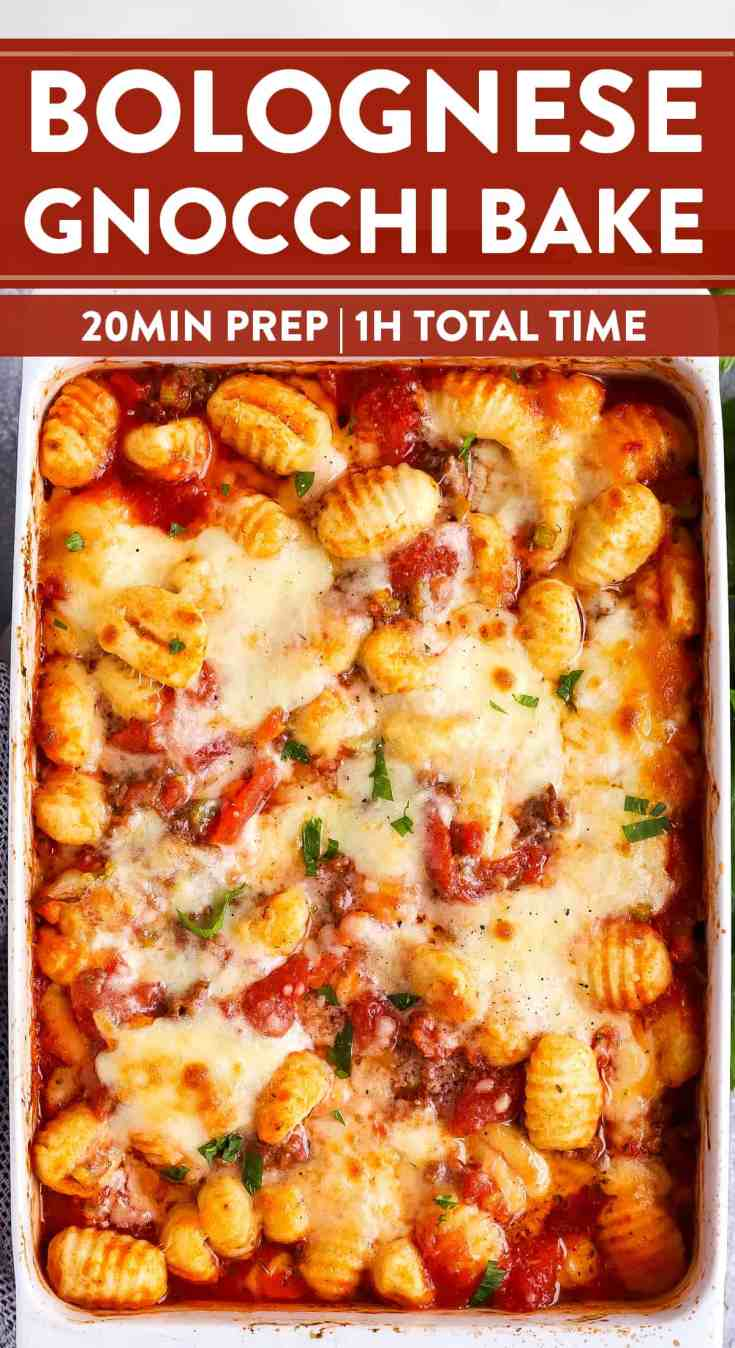 This Bolognese Gnocchi Bake is my number one emergency meal. Once the beef is browned, all that's left to do is stirring everything together in the casserole dish, then bake. This is such a quick prep, kid-friendly meal - perfect for those extra busy nights! | #casserole #casserolerecipe #dinner #easydinner #kidfriendlyfood #gnocchi #italianfood #familydinner