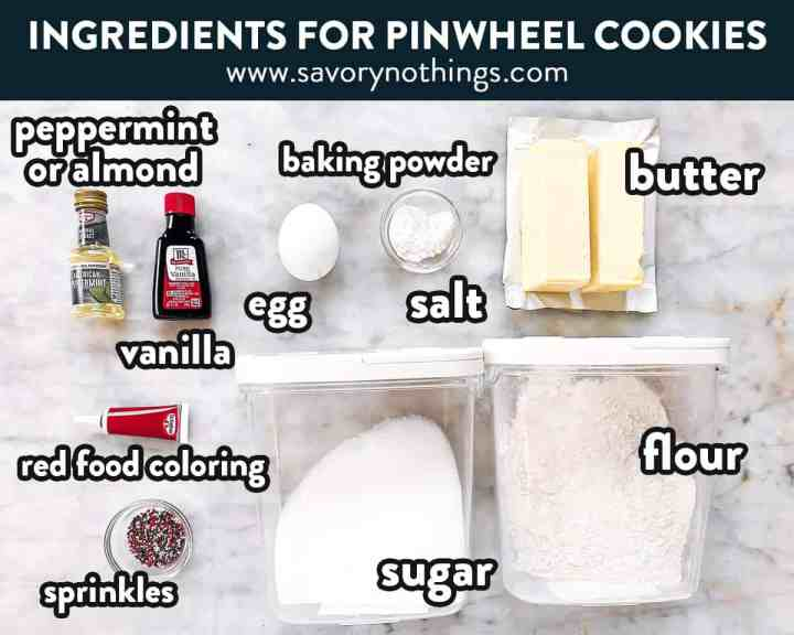 ingredients for Christmas pinwheel cookies with text labels