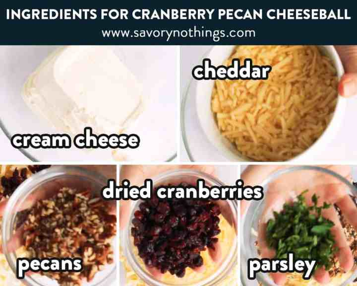 ingredients for cranberry pecan cheeseball with text labels