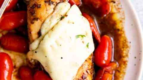 white plate with caprese chicken on it