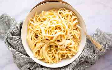 top down view on a plate with fettuccine alfredo