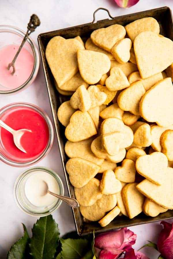 top down view on heart cookies and icing