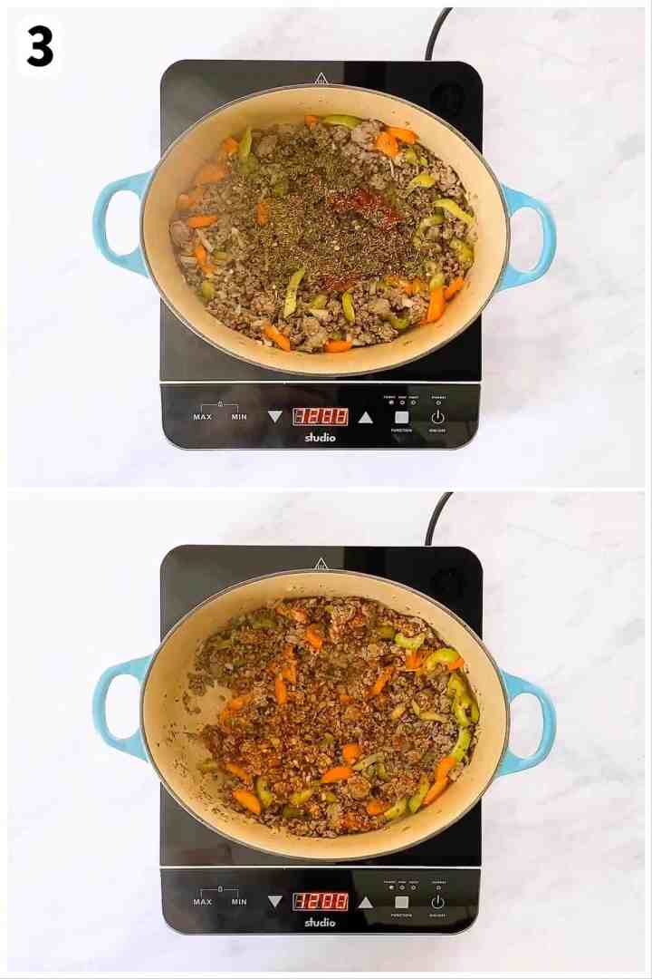 photo collage to show how to stir seasoning into meat and vegetables for soup