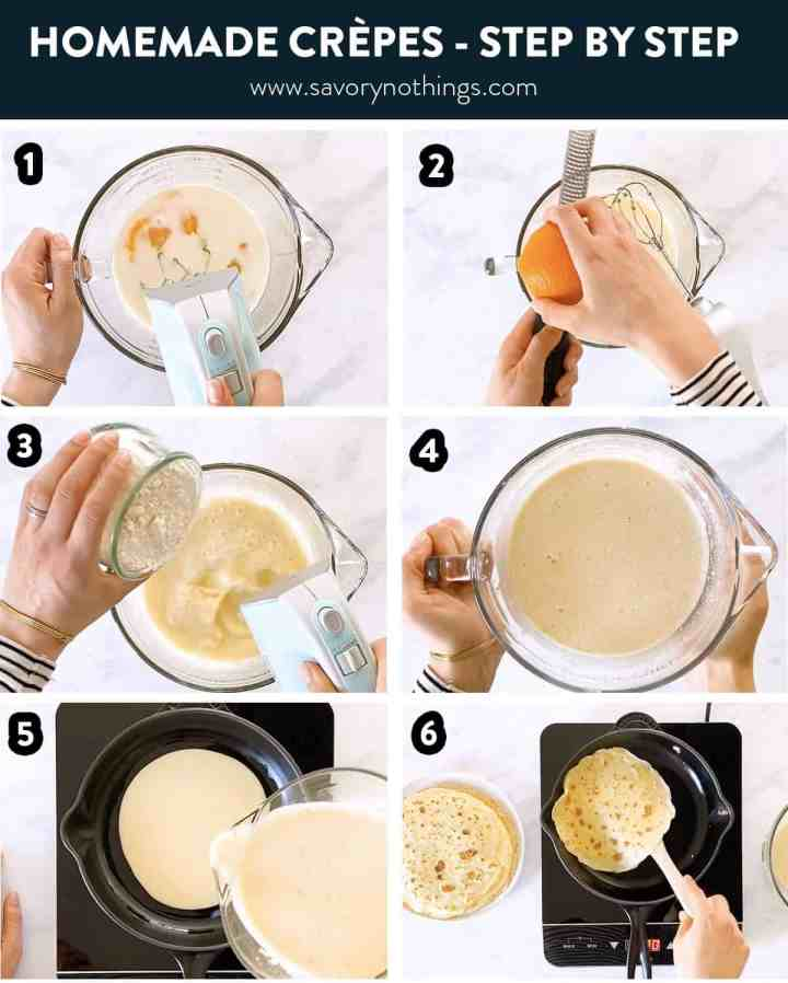 photo collage to show how to make crêpes