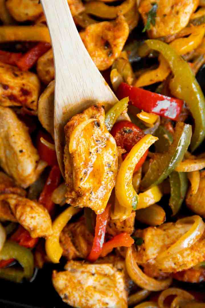 close up photo of chicken with peppers