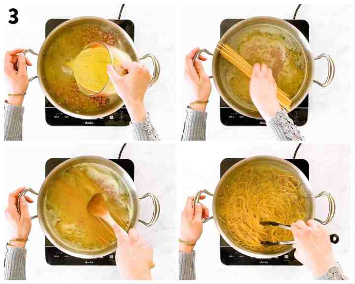 photo collage to show how to prepare ham an pea pasta in one pot