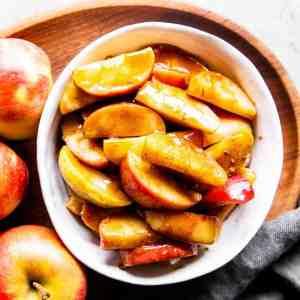 cinnamon apples in white bowl