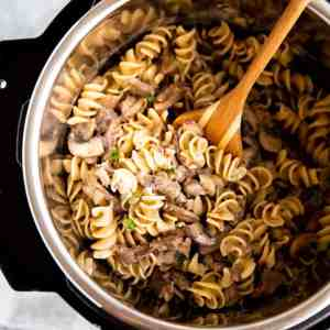 top down view on stroganoff in instant pot