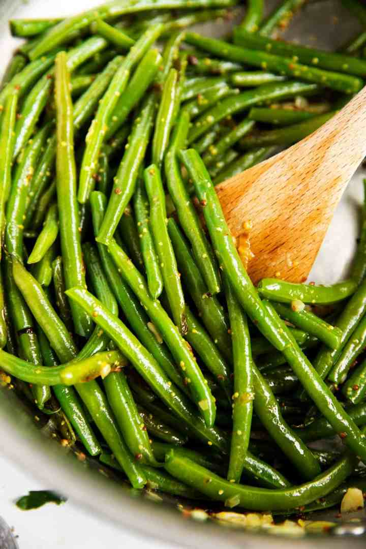 close up of sautéed green beans