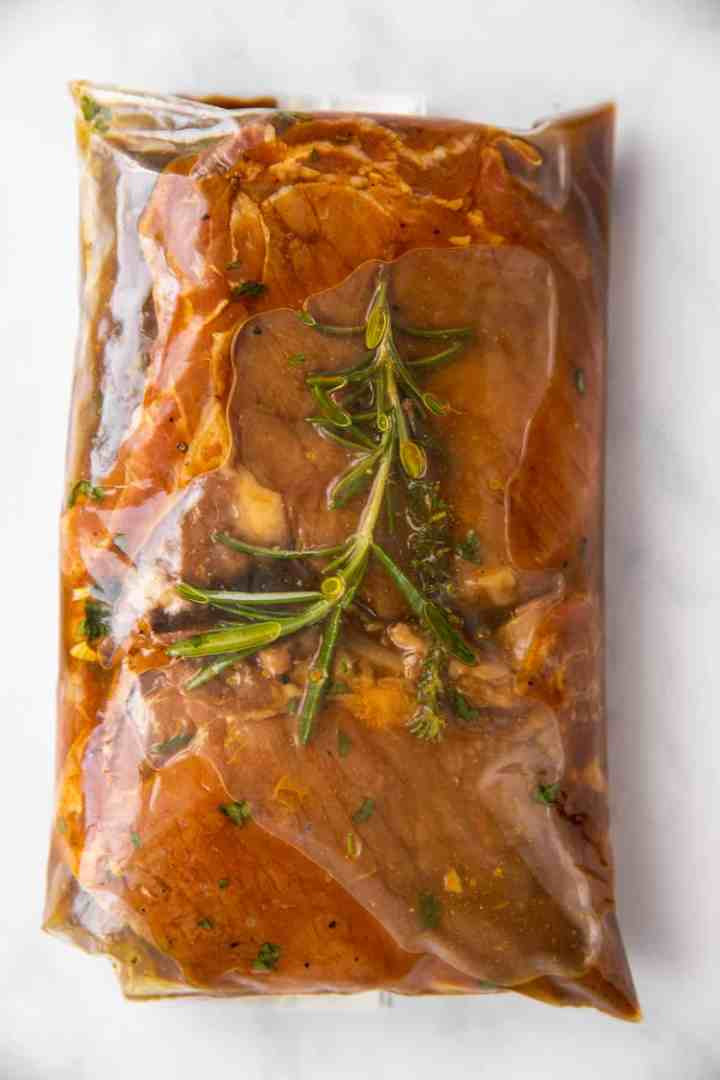 ziploc bag with marinated pork chops
